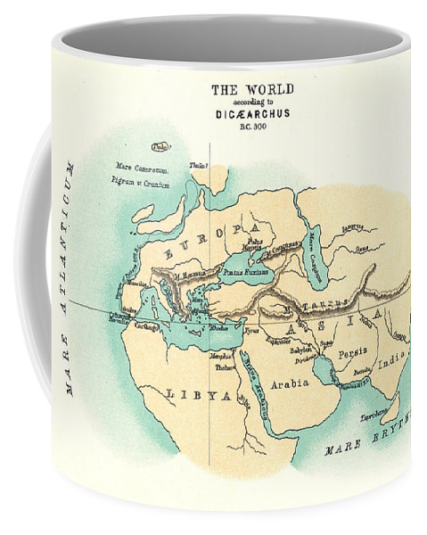 300 B.c. Coffee Mug featuring the painting World Map, C300 B.c by Granger