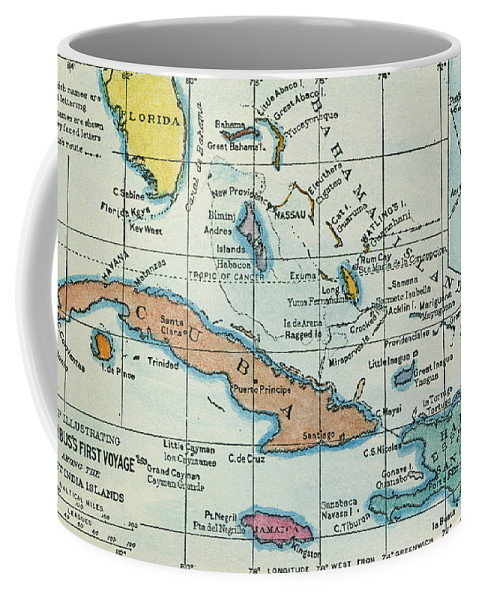 1492 Coffee Mug featuring the painting Columbus: West Indies Map by Granger