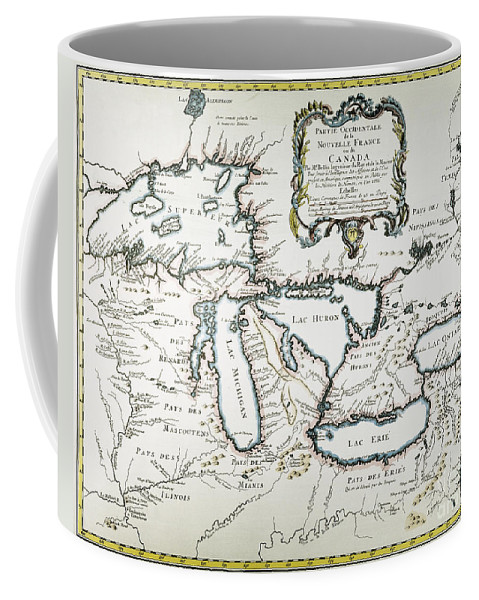 1755 Coffee Mug featuring the painting Great Lakes Map, 1755 by Granger