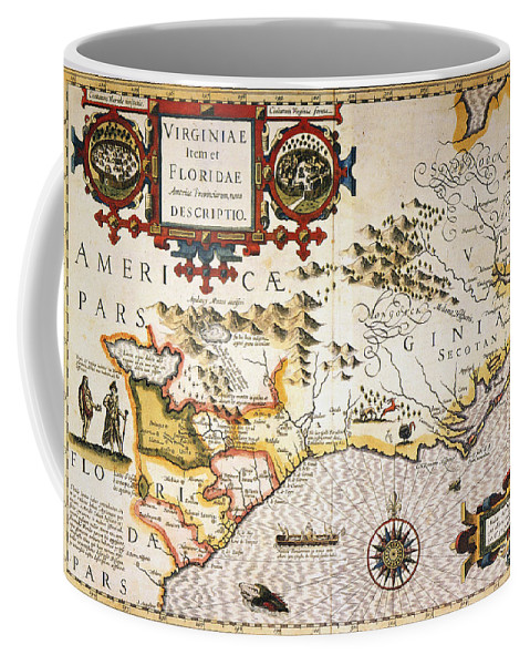 1606 Coffee Mug featuring the painting Map: Colonial America, by Granger