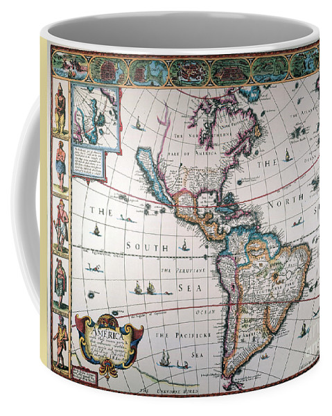 1616 Coffee Mug featuring the painting New World Map, 1616 by Granger