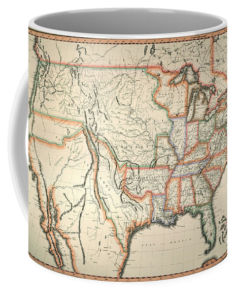 1820 Coffee Mug featuring the painting Map: United States, 1820 by Granger