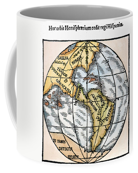 1529 Coffee Mug featuring the painting World Map, 1529 by Granger