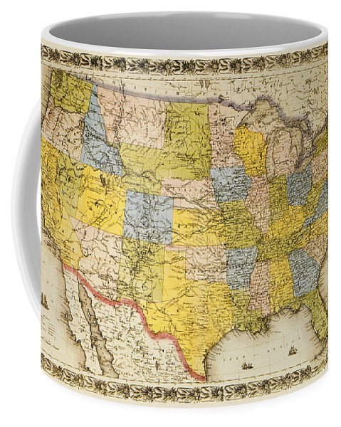 1866 Coffee Mug featuring the painting United States Map, 1866 by Granger