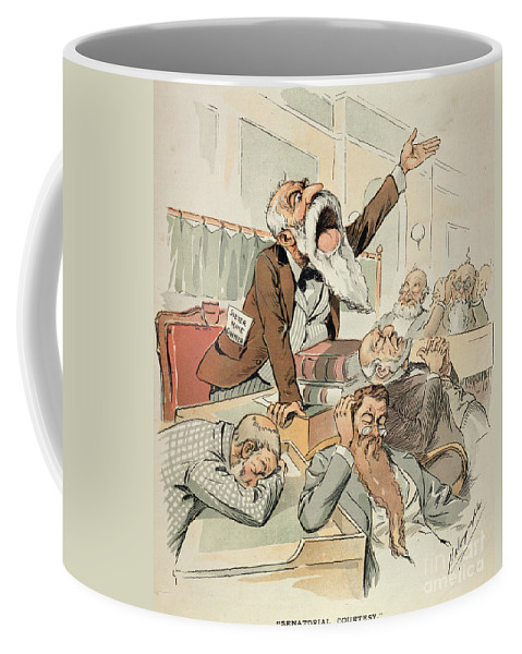 1893 Coffee Mug featuring the painting Senate Cartoon,free Silver by Granger