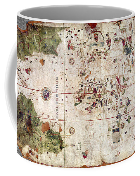 1500 Coffee Mug featuring the painting Nina: World Map, 1500 by Granger