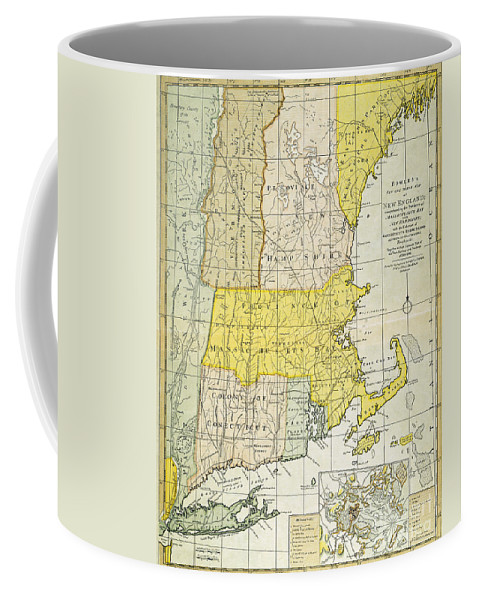 1775 Coffee Mug featuring the painting New England Map, C1775 by Granger