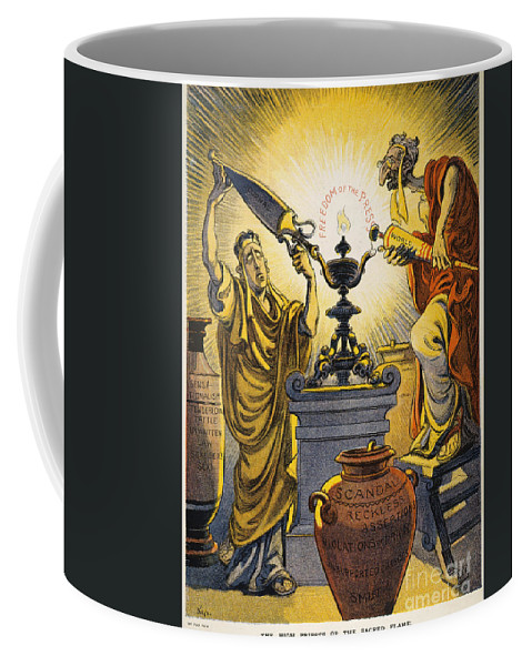 1909 Coffee Mug featuring the painting Yellow Journalism, 1909 by Granger