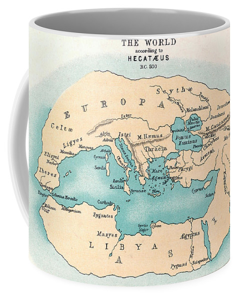 500 B.c. Coffee Mug featuring the painting World Map: 500 B.c by Granger