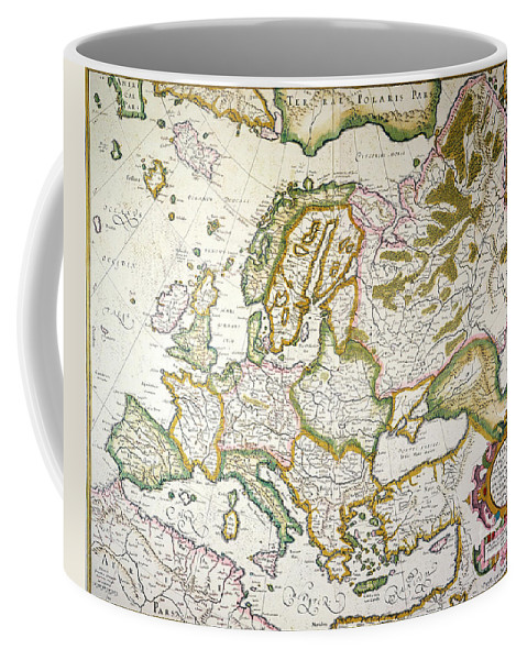 1623 Coffee Mug featuring the painting Map Of Europe, 1623 by Granger
