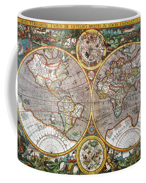 1594 Coffee Mug featuring the painting World Map, 1607 by Granger