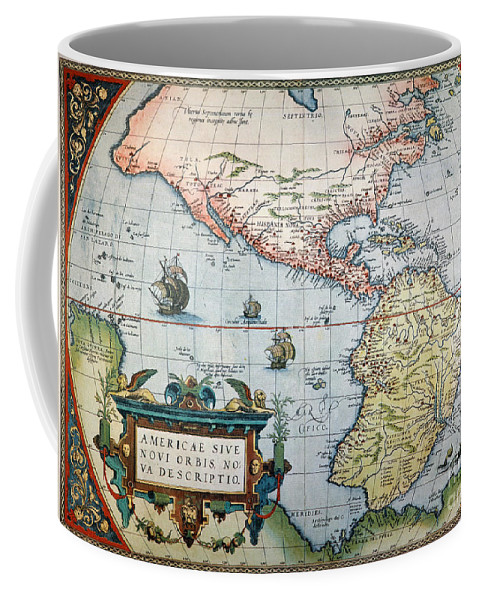 1570 Coffee Mug featuring the painting New World Map, 1570 by Granger