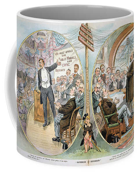 1904 Coffee Mug featuring the painting Business Cartoon, 1904 by Granger