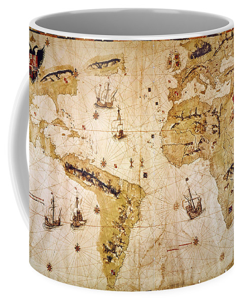 1526 Coffee Mug featuring the painting Vespucci's World Map, 1526 by Granger