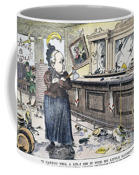 1901 Coffee Mug featuring the painting Carry Nation Cartoon, 1901 by Granger