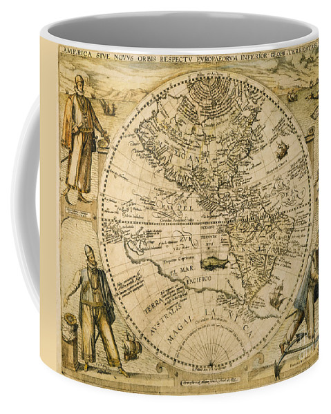 1596 Coffee Mug featuring the painting W. Hemisphere Map, 1596 by Granger