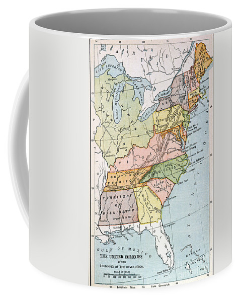 1791 Coffee Mug featuring the painting United States Map, C1791 by Granger