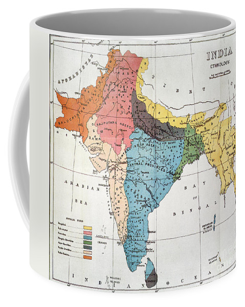 Aod Coffee Mug featuring the painting India: Map, 19th Century by Granger