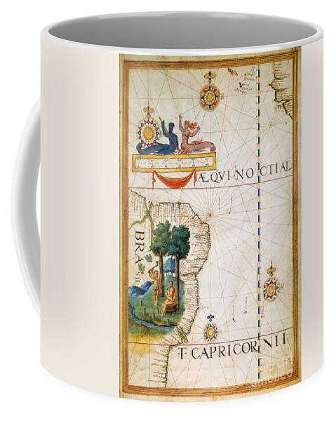 1565 Coffee Mug featuring the painting Brazil: Map And Native Indians by Granger