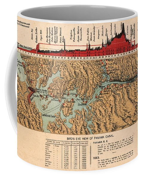 1914 Coffee Mug featuring the painting Card: Panama Canal, 1914 by Granger