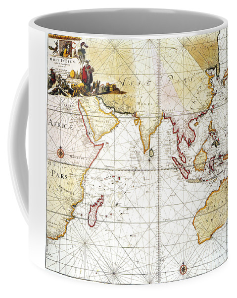 1705 Coffee Mug featuring the painting Indian Ocean: Map, 1705 by Granger