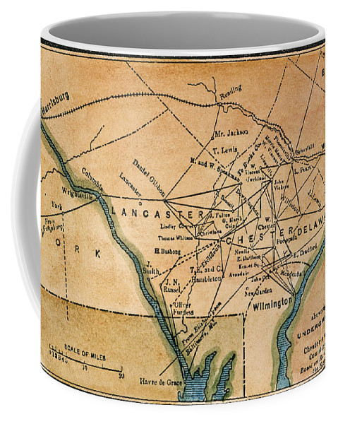 19th Century Coffee Mug featuring the painting Underground Railroad Map by Granger