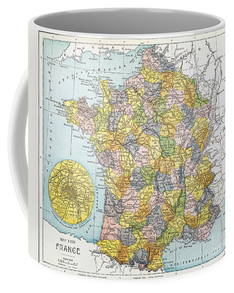 1900 Coffee Mug featuring the painting Map Of France, C1900 by Granger