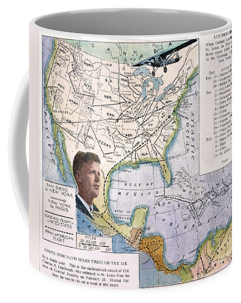 1927 Coffee Mug featuring the painting Charles Lindbergh by Granger