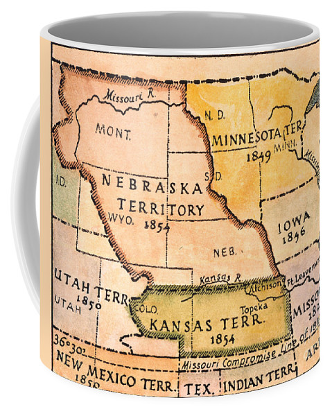 1854 Coffee Mug featuring the painting Kansas-nebraska Map, 1854 by Granger
