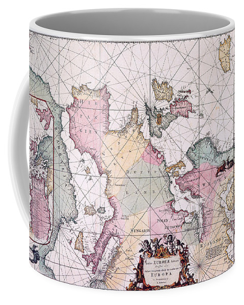 1715 Coffee Mug featuring the painting Map: European Coasts, 1715 by Granger