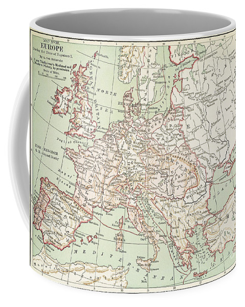1810s Coffee Mug featuring the painting Map Of Europe, C1812 by Granger