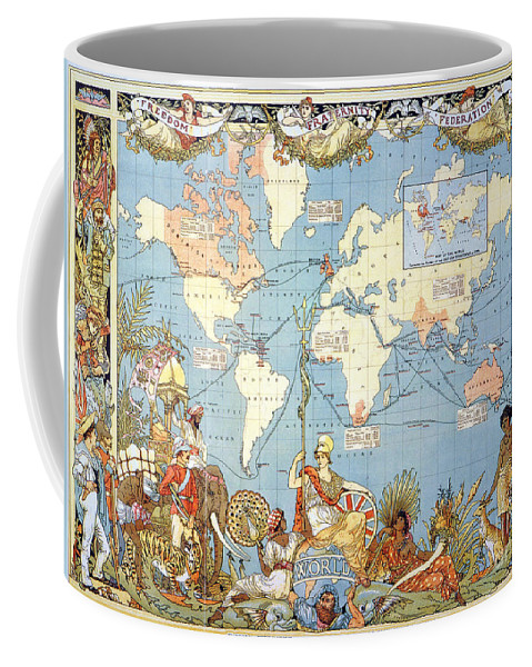 1886 Coffee Mug featuring the painting Map: British Empire, 1886 by Granger