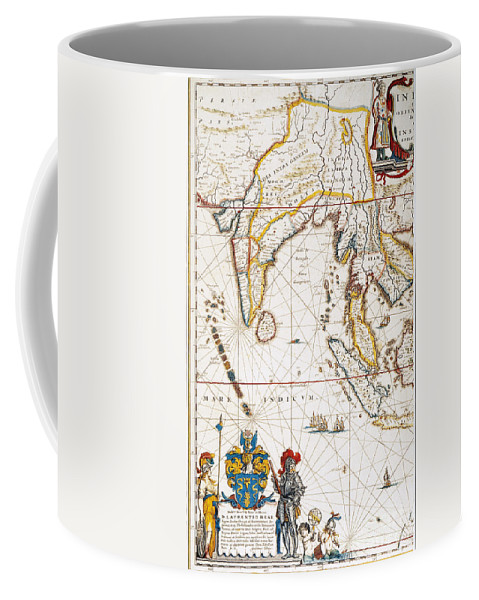 1662 Coffee Mug featuring the painting South Asia Map, 1662 by Granger