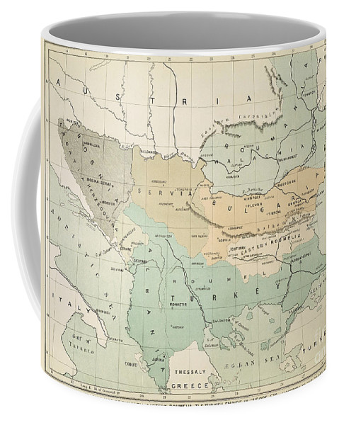 1885 Coffee Mug featuring the painting Balkan Map, 1885 by Granger
