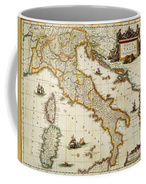 1631 Coffee Mug featuring the painting Map Of Italy, 1631 by Granger