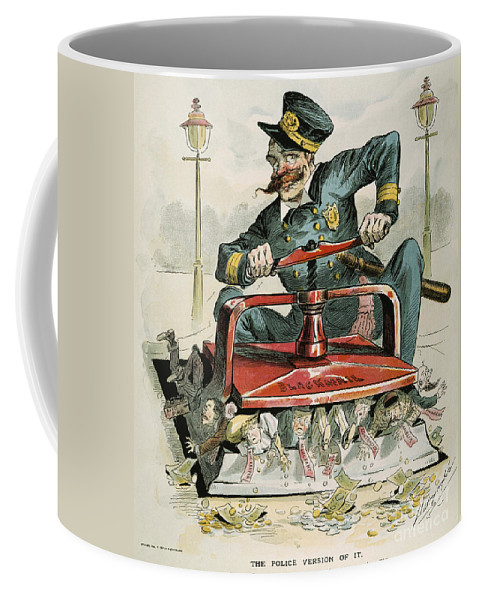 1894 Coffee Mug featuring the painting Police Corruption Cartoon by Granger