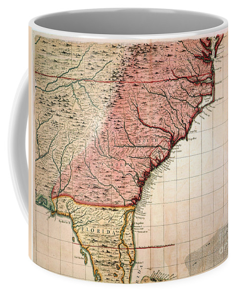 1733 Coffee Mug featuring the painting Colonial America Map, 1733 by Granger