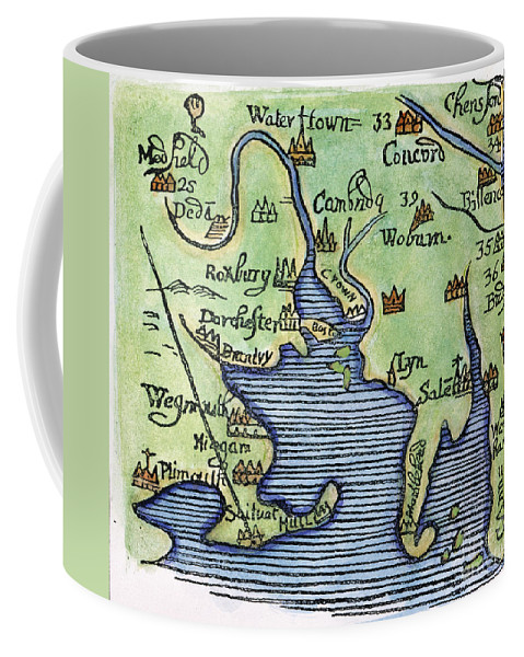 1677 Coffee Mug featuring the painting New England Map 1677 by Granger