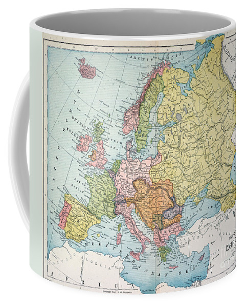 1885 Coffee Mug featuring the painting Map: Europe, 1885 by Granger