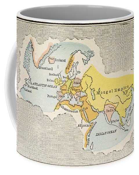 1300 Coffee Mug featuring the painting World Map, C1300 by Granger