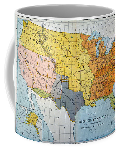 1776 Coffee Mug featuring the painting U.s. Map, 1776/1884 by Granger