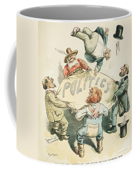 1896 Coffee Mug featuring the painting U.s. Cartoon: Businessman by Granger
