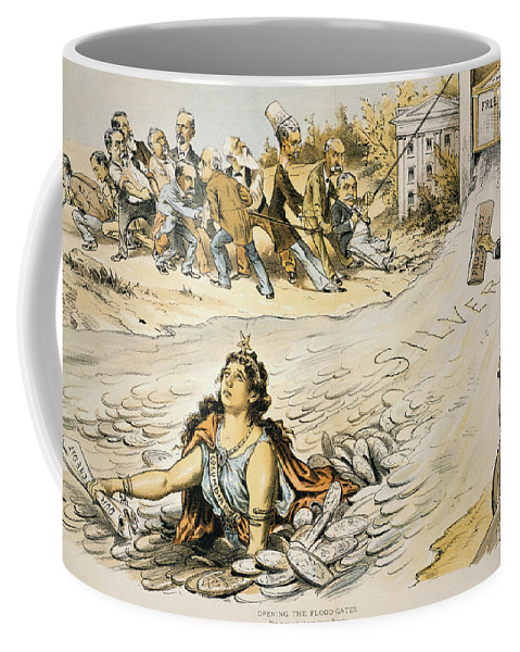 1890 Coffee Mug featuring the painting Free Silver Cartoon, 1890 by Granger