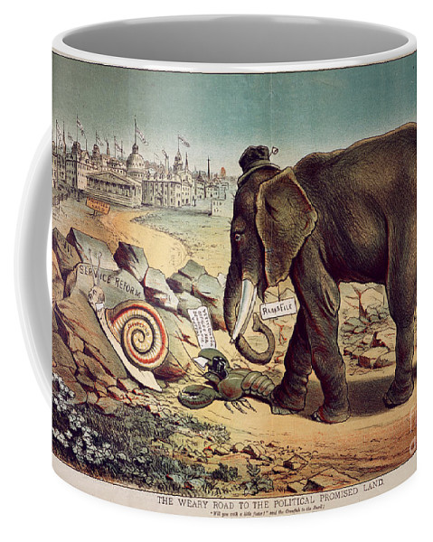 1885 Coffee Mug featuring the painting Office Seekers 1885 by Granger