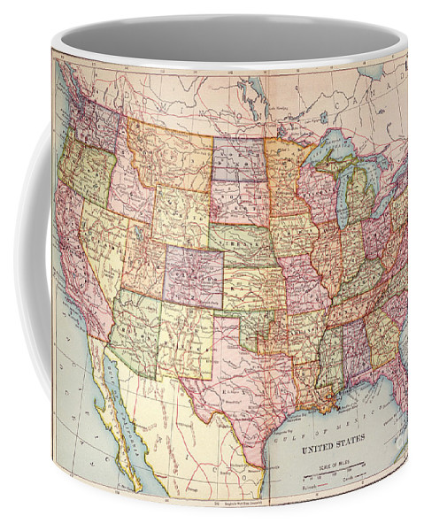 1905 Coffee Mug featuring the painting Map: United States, 1905 by Granger