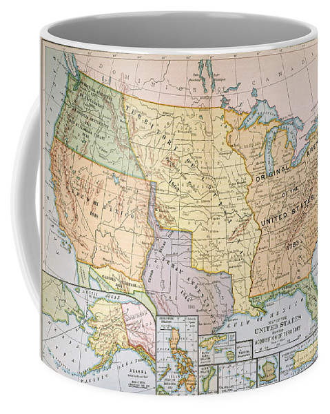 1905 Coffee Mug featuring the painting Map: U.s. Expansion, 1905 by Granger