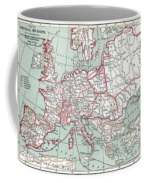 12th Century Coffee Mug featuring the painting Map Of Europe, 12th Century by Granger