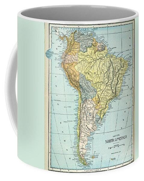 1890 Coffee Mug featuring the painting South America: Map, C1890 by Granger
