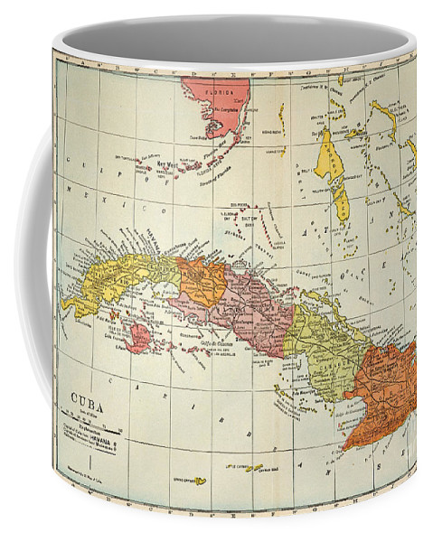 1900 Coffee Mug featuring the painting Map: Cuba, 1900 by Granger