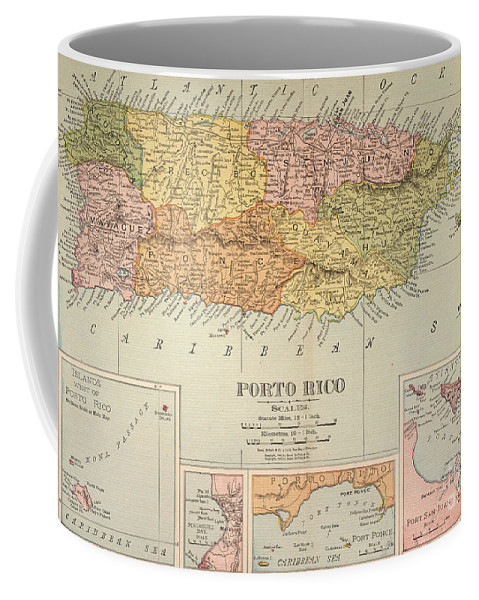 1900 Coffee Mug featuring the painting Map: Puerto Rico, 1900 by Granger